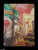 Music of New Orleans oil on linen expressionist artwork by the Maine artist D. Loren Champlin