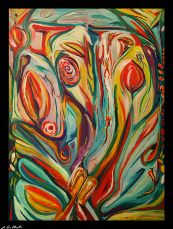 Mariposa Fine 2010 Commissioned Maine art by D. Loren Champlin abstract expressionist oil painting rural butterflies floral