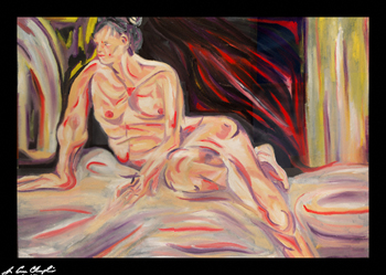 Waiting for the moment by Maine artist champlin abstract expressionist figurative portrait nude