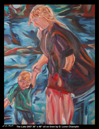 the lake mother and child rural maine coastal figurative portrait by d loren champlin