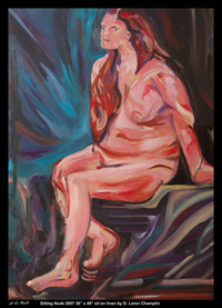 sitting nude abstract contemporary modern female woman figurative portrait by d loren champlin